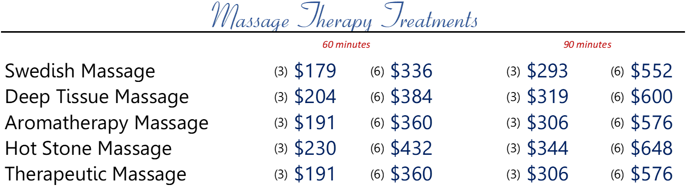 Massage Series Pricing